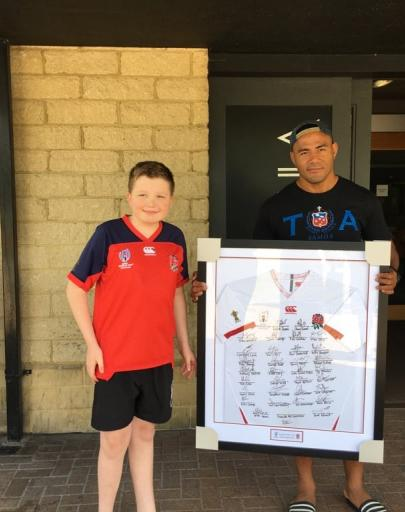 A Very Big Thankyou from NeST & the Research Team to Sarah Walbrin and son George for auctioning a rugby shirt signed by Freddie Tuilagi & Manu Tuilagi(plays for England),  and raising the wonderful sum of £250.00!!!!