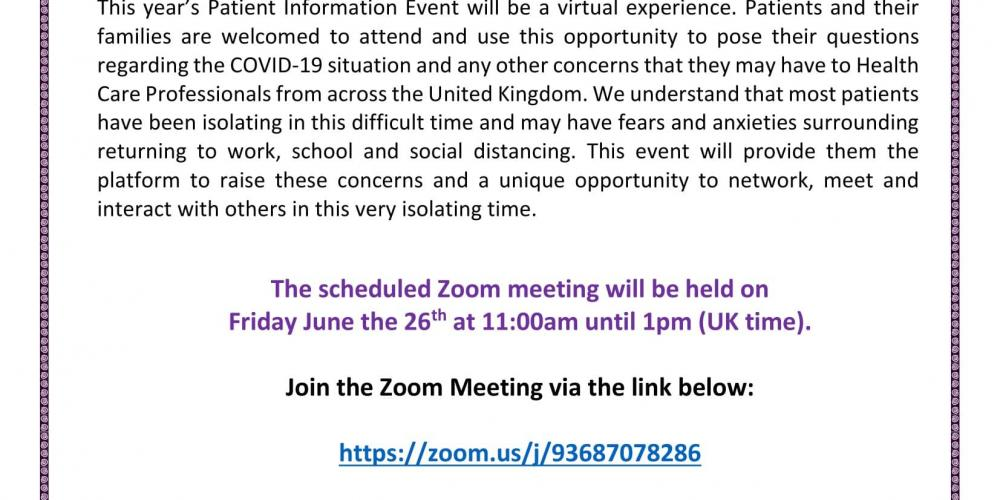 'National Nephrotic Syndrome Patient Information Event 2020'.(via zoom) 29th of June 11 -1pm
